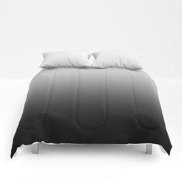 Gray to Black Horizontal Linear Gradient Comforters