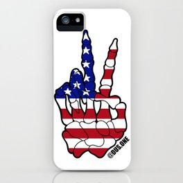 American Flag Skeleton Peace Sign iPhone Case