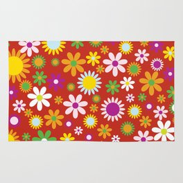 Flowers, Petals, Blossoms - Red Green Orange Rug