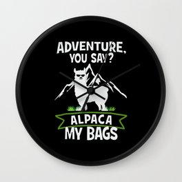 Alpaca My Bags  Travelling Wall Clock