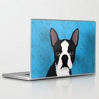 terrier Laptop & iPad Skins featuring Boston terrier by Nir P
