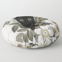 Cat With Flowers Floor Pillow