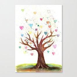 Heart Tree Watercolor Illustration Canvas Print