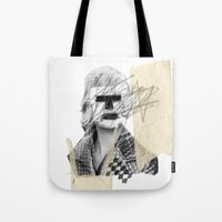 kate moss Tote Bags featuring Kate Moss by FAMOUS WHEN DEAD