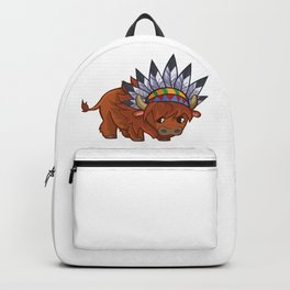 Cartoon Tribal Buffalo Backpack