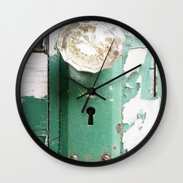 Vintage, Crystal, Door, Green, Paint Chipped, Rustic, Wall Clock