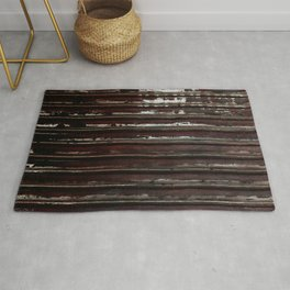 Rusted Metal Chipped Paint Texture - Industrial Line Pattern Rug