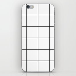 black grid on white background iPhone Skin