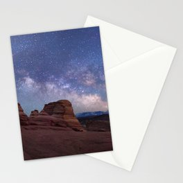 Delicate Arch Under the Starry Sky in Arches National Park Panorama Stationery Cards