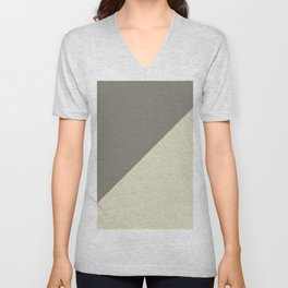 Modern abstract brown ivory color block pattern Unisex V-Neck