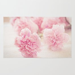 Pretty Pink Carnation Flowers Photograph Rug