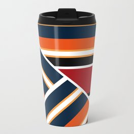 Retro . Combined stripes . Metal Travel Mug