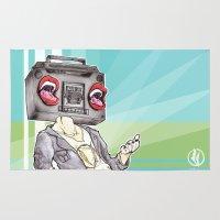 radiohead Area & Throw Rugs featuring RadioHead by Andrea Fonseca Illustration