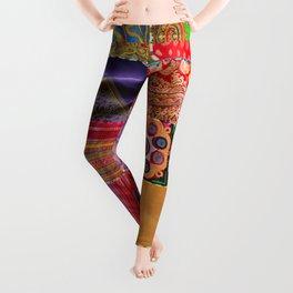 Boho Art   Sari Patchwork Quilt Leggings
