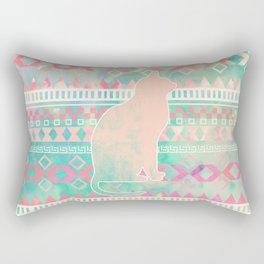 Whimsical Cat, Pink Turquoise Girly Aztec Pattern Rectangular Pillow