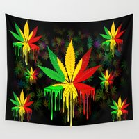 rasta Wall Tapestries featuring Marijuana Leaf Rasta Colors Dripping Paint by BluedarkArt