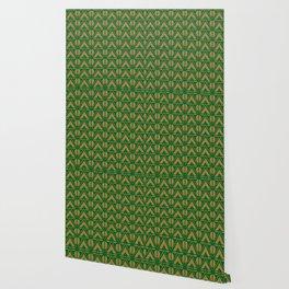 Green Sun & Mountains Abstract Retro Wallpaper
