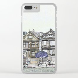Painted Ladies Digital Drawing Clear iPhone Case