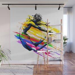 Break dance, ballet dancer jumping. Fitness acrobatics Wall Mural