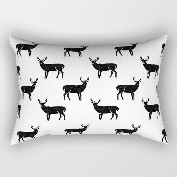 Buck deer antlers pattern minimal black and white linocut printmaking art Rectangular Pillow