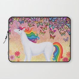whimsy (rainbow unicorn), butterflies, African daisies Laptop Sleeve