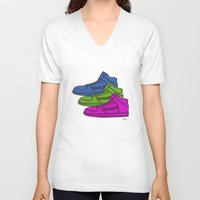 sneakers V-neck T-shirts featuring Colorful sneakers by YTRKMR