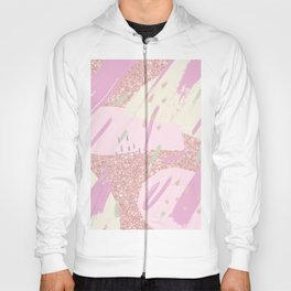 Abstract pink ivory girly glitter brushstrokes Hoody