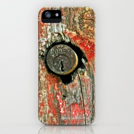 Weathered Wood Texture with Keyhole iPhone Case