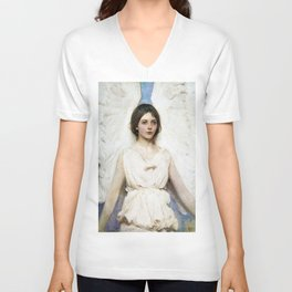 Beautiful Angel With White Wings Unisex V-Neck