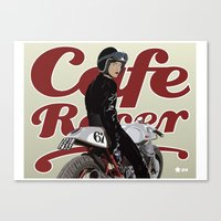 cafe racer Canvas Prints featuring Cafe Racer Girl Poster by Graham Chmylowskyj