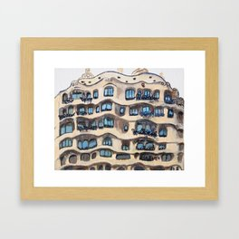 Barcelona, La Pedrera, building by Gaudi Framed Art Print