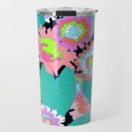 Amazon Rainforest Floral in Black + Neon Travel Mug