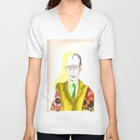 clown V-neck T-shirts featuring clown by Leah Thornton