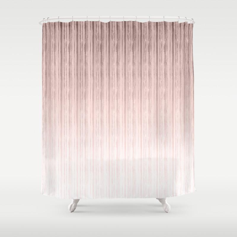 Pink Beige Stripes Shower Curtain