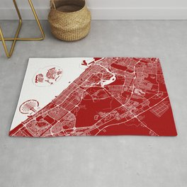 Red City Map of Dubai, UAE Rug