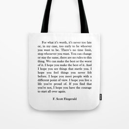F.scott - for what Tote Bag