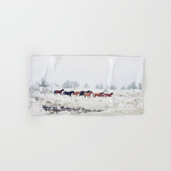 Winter Horse Herd Hand & Bath Towel