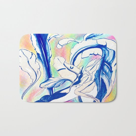 Plant in Blue Marker - Leaf of Life Miracle Leaf - Rainbow Colorful 2 Bath Mat