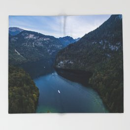 königssee waterfall alps bayern forrest drone aerial shot nature wanderlust boat mountains panorama Throw Blanket