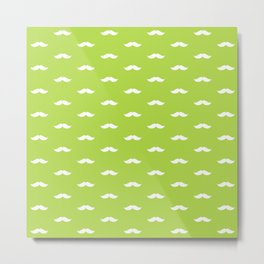White Mustache pattern on green background Metal Print