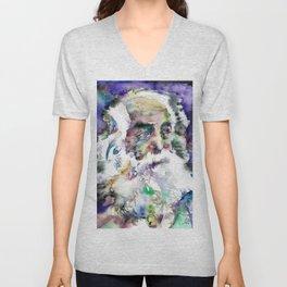 WALT WHITMAN - watercolor portrait .2 Unisex V-Neck