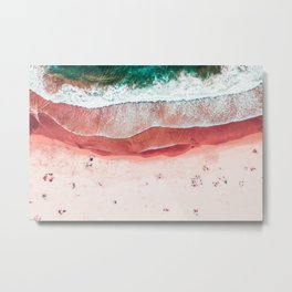 Pink Beach Print, Aerial Beach, Bondi Beach, Aerial Photography, Ocean Waves, Waves Print, Sea Print, Modern Home Decor Print Art Metal Print