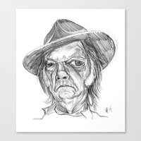 neil young Canvas Prints featuring Neil Young by Mark T. Zeilman