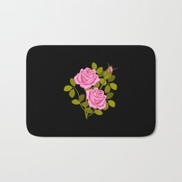Painted Pink Roses Bath Mat