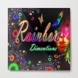 Rainbow Dimentions Square Metal Print