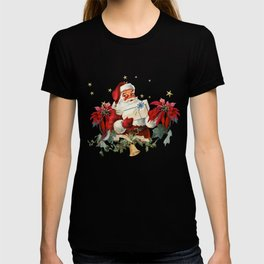 Santa Claus with gifts and christmas flower T-shirt