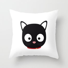 Cute black cat with red collar Throw Pillow