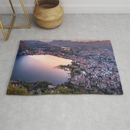 Lake Lugano Alpine Sunset, Switzerland photograph Rug