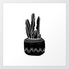 Cactus houseplant linocut cacti desert southwest black and white office home art products Art Print