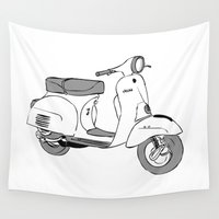 vespa Wall Tapestries featuring Vespa by franzgoria